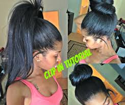 Hairstyles Without Weave High Ponytail And Bun With Clip Ins No Lumps Youtube