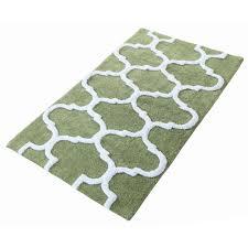 bath rug in sage green white
