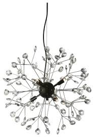 6 light chandelier black and polished chrome finish