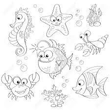 かわいい漫画の海の動物のセットです塗り絵の黒と白のイラスト