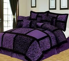 Elegant 7pcs Queen Safari Purple And Black Patchwork Micro Suede Comforter  Amazon Bed Comforter Sets Designs