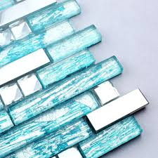 blue glass tile silver stainless steel crystal backsplash diamond shaped mosaic bathroom wall tiles