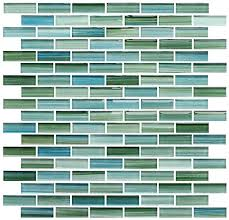 green and blue hand painted glass mosaic subway tiles 5 sq ft