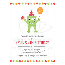 kids birthday party invitations funny monster with balloon and party hat birthday invitation for kids