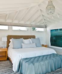 Bedroom With White Beam Ceiling, Blue Accents