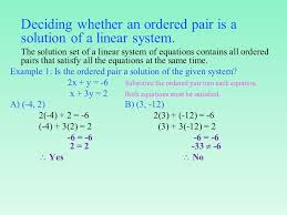 deciding whether an ordered pair is a solution of a linear system
