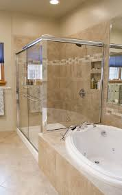 this stand up all glass shower makes bathroom look bigger pertaining to garden tub decor 15