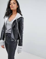 barneys originals women s black leather biker jacket