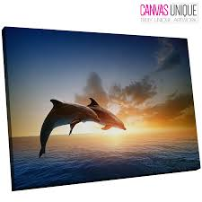 image is loading a559 two dolphins leaping ocean sun animal canvas  on dolphin canvas wall art with a559 two dolphins leaping ocean sun animal canvas wall art framed