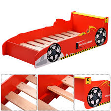 costway new kids race car bed toddler bed boys child furniture red wooden com