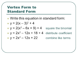 converting quadratic equations a step by guide with practice converting vertex form to standard math