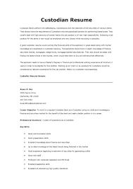 Sample Resume For Custodian sample resume for custodian Enderrealtyparkco 1