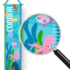 Kids Wall Growth Chart Under The Sea Ocean Life Theme Kids Personalized Wall Growth Chart