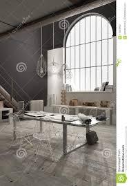 Modern Industrial Office Interior Design Industrial Office With Big Window Open Space Loft Interior