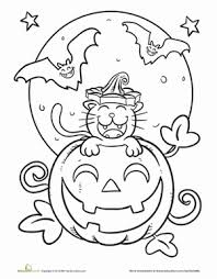Small Picture Halloween Cat Coloring Page Halloween scene Scary and Kitty
