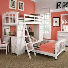 Modern White Ikea Bunk Bed With Stairs And Desk For Teenager