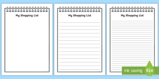 Template For Shopping List Free My Shopping List Writing Frames A4 My Shopping