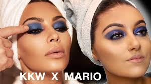 kkw x mario inspired cobalt blue kim kardashian makeup tutorial