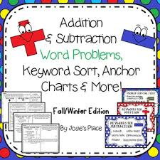 Addition And Subtraction Key Words Anchor Chart Word Problems Keyword Sort More Fall Winter Choose Your Own S Option