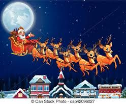 santa claus and reindeer flying. Santa Claus Riding His Reindeer Sleigh Flying Over Town On And