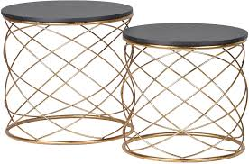 pair of round side tables with spiral metal pertaining to decor 3
