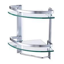 Glass Corner Shelves Uk Impressive KES Glass Corner Shelf With Aluminum Rail And Towel Bar 32 Tier