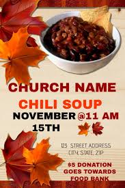 chili supper flyer church chili dinner fundraiser template postermywall