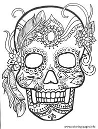 Small Picture Sugar Skull Adult Flower Coloring Pages Printable