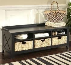 Bench With Storage Baskets Bench With Rattan Baskets Black Hall Black Hall Bench
