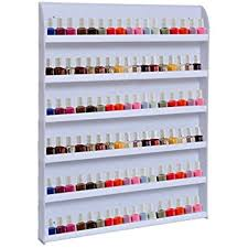 Gracelove Nail Polish Rack Wall Display Stand Nail Rack Storage Organizer  Holds 90 Bottles White
