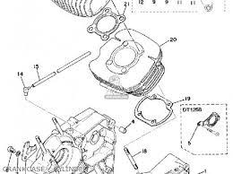 yamaha dt125 1974 usa parts lists and schematics crankcase cylinder