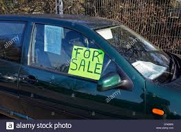 For Sale Sign On Car A Car With A For Sale Sign In The Window Stock Photo 43737713 Alamy