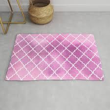 moroccan trellis latticework watercolors pink rug