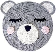 handmade crochet bear rug for baby nursery room