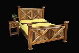 Bed Frame & Nightstand - Country Rustic Cabin Log Wood Bedroom ...
