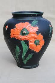 black amethyst glass vase w painted poppies 1930s vintage tiffin glass poppy vase