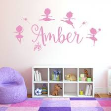 personalised name girls wall art sticker disney baby ballerina little princess ballet shoes  on personalised baby wall art uk with wall designer personalised names