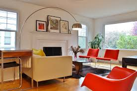 living room floor lamp. lovely arc floor lamp for living room decor with orange chairs and fireplace ideas plus cowhide