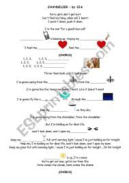 chandelier by sia worksheet page 1 page 2
