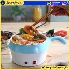 Hàng Loại 1] Nồi lẩu mini - Tặng Kèm Khay Hấp - Nồi lẩu 2 ngăn cao cấp, nấu  siêu tốc - có tay cầm cho sinh viên - Nồi lẩu điện