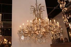 six arm french glass and crystal chandelier extra long fully red with all original