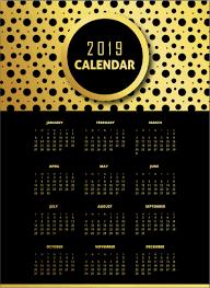 Wall Calendar Design Ideas 2019 Black Golden 2019 Pattern Calendar Designs Wall Calendar