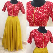 Crop Top Design Pattern Beautiful Mustard Colorskirt And Red Color Color Crop Top