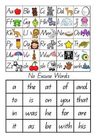 Alphabet Chart With No Excuse Words
