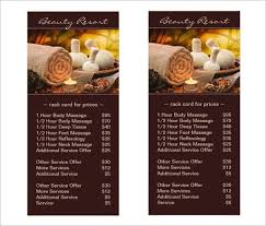 sample spa menu template