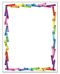 Colorful Crayon Border Stationery 8 5 X 11 60 Letterhead Sheets For Kids Border Letterhead Crayons