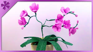 Paper Orchid Flower Diy Tissue Paper Orchid Eng Subtitles Speed Up 113 Youtube
