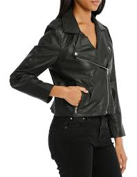 piper petites jacket leather with zip detail
