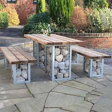 ideas for patio furniture. Cool Outdoor Table Ideas Home Dzine Garden | Gabion-style Set For Patio Furniture E