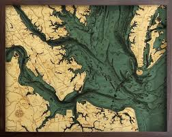 Wood Bathymetric Charts Norfolk Virginia Lower Chesapeake Bay 3 D Nautical Wood Chart 24 5 X 31
